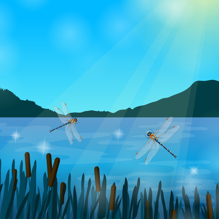 Ilustración de Two dragonflies flying over water in sun rays with mountains on background realistic composition vector illustration - Imagen libre de derechos