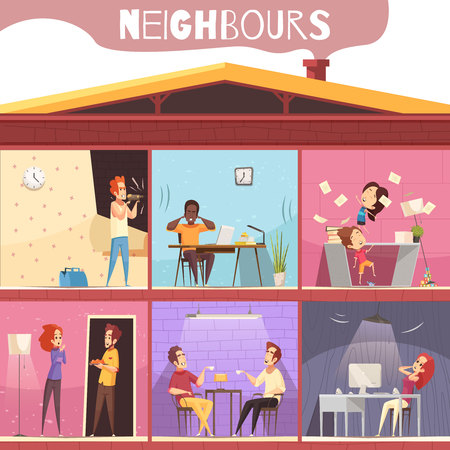 Illustration pour Neighbors living in multi-storied city house and irritated because of noise and quarrel cartoon vector illustration - image libre de droit