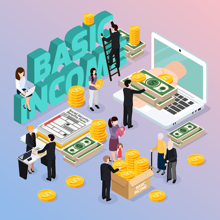 Illustration for Social security composition with basic income and money symbols isometric vector illustration - Royalty Free Image