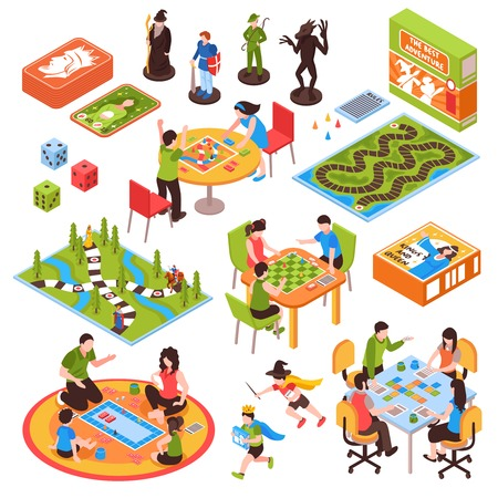 Ilustración de Set of isometric icons with people including adults and kids playing board games isolated vector illustration - Imagen libre de derechos