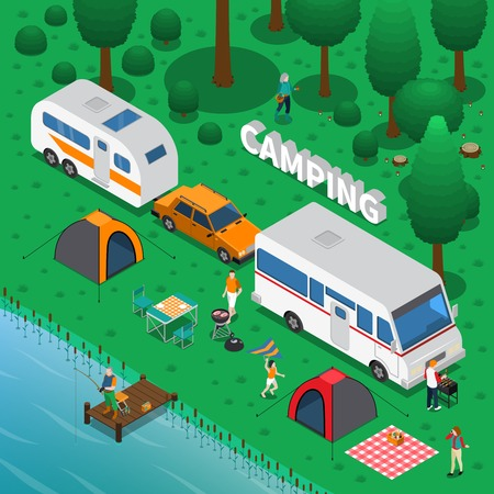 Illustration pour Camping concept with fishing trailer and family symbols isometric vector illustration - image libre de droit
