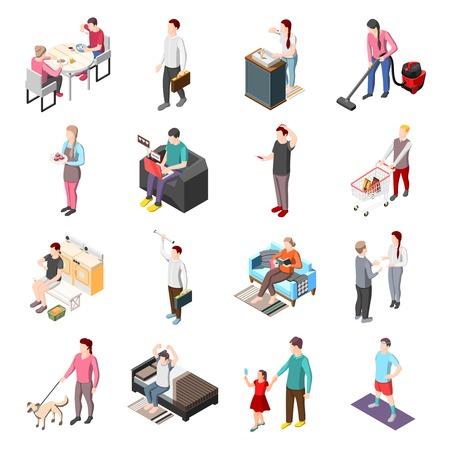 Ilustración de Life of ordinary people isometric icons set - Imagen libre de derechos