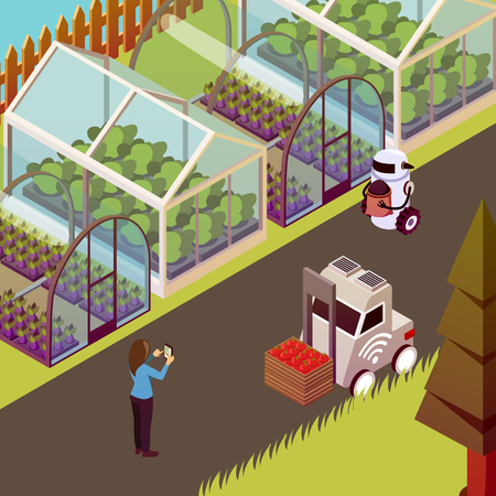 Illustration pour Agricultural robots isometric background with view of husbandry farm walk with robots and line of hothouses vector illustration - image libre de droit