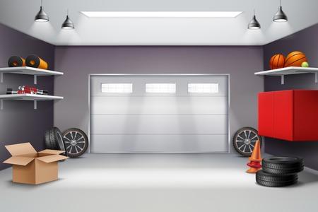 Ilustración de Garage interior in grey color realistic composition with sports equipment, automobile wheels, road cones 3d vector illustration - Imagen libre de derechos