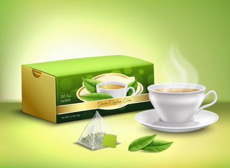 Ilustración de Green tea leaves, sachet and cardboard packaging, white cup with hot drink  realistic design vector illustration - Imagen libre de derechos