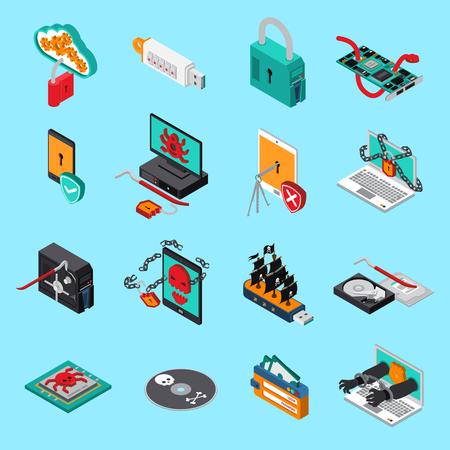Ilustración de Hardware protection icons set with computer symbols  on blue background isometric isolated vector illustration - Imagen libre de derechos