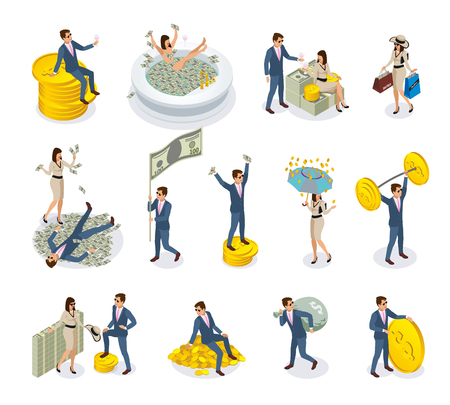 Ilustración de Set of isometric icons rich people with big money, during golden rain, expensive shopping isolated vector illustration - Imagen libre de derechos