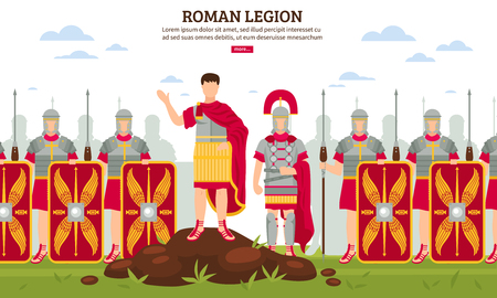 Illustration for Ancient rome legionary flat webpage banner with army infantrymen in full armor with shields vector illustration - Royalty Free Image