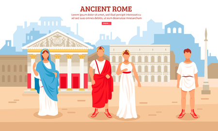 Ilustración de Ancient rome flat composition poster with imperial couple and plebeians citizens characters and pantheon in background vector illustration - Imagen libre de derechos