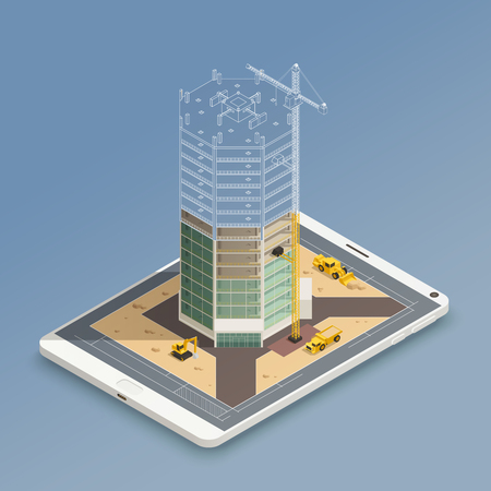 Ilustración de Skyscraper construction on smart phone screen isometric composition with steel tubes frame and yellow machinery vector illustration - Imagen libre de derechos