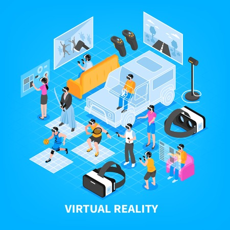 Virtual reality vr experience simulators training games portable gadgets headsets displays isometric composition background poster vector illustration