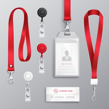 Ilustración de Professional identification card id badges holders with red lanyards and strap clips realistic templates set isolated vector illustration - Imagen libre de derechos