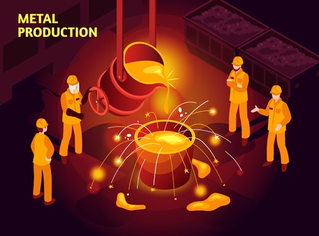 Illustration pour Metal production isometric poster with steel makers in foundry pouring molten cast iron in mold vector illustration  - image libre de droit