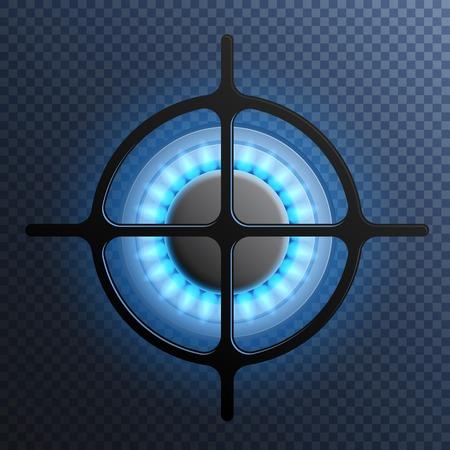 Illustration pour Realistic gas flame burner plate composition with transparent background and blue flame vector illustration - image libre de droit