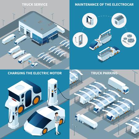 Illustration pour Futuristic electric vehicles isometric design concept with truck service, car maintenance, motor charging, parking isolated vector illustration - image libre de droit