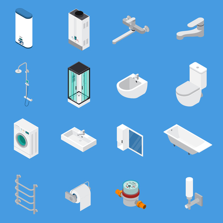 Ilustración de Sanitary engineering including faucets, bath, sinks, lavatory, laundry washer isometric icons isolated on blue background vector illustration  - Imagen libre de derechos