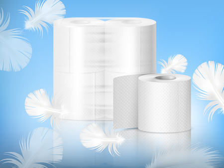 Ilustración de White textured toilet paper, single roll and polythene packaging, realistic composition, blue background with feathers vector illustration - Imagen libre de derechos