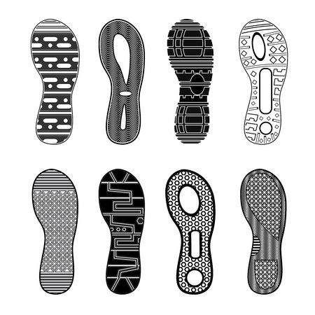 Ilustración de Monochrome collection of various highly detailed black sport shoes footprints on white background isolated vector illustration - Imagen libre de derechos