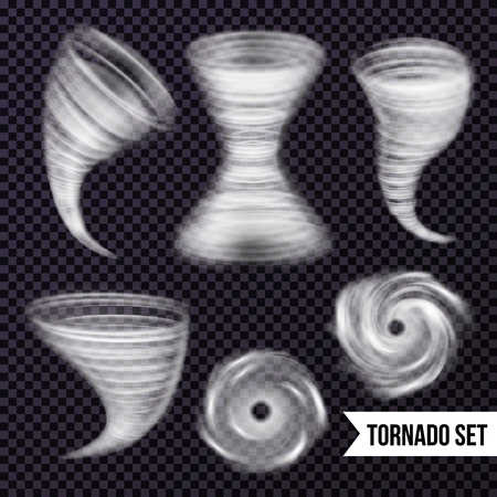 Illustration pour Storm hurricane tornado cyclone realistic set with isolated images of airy spiral swirls on transparent background vector illustration - image libre de droit
