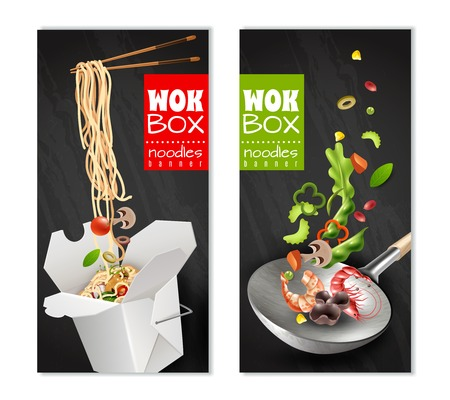 Illustration pour Realistic chinese noodles in carton box, wok with flying ingredients banners on black background isolated vector illustration - image libre de droit