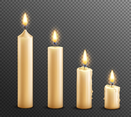 Ilustración de Burning wax candles realistic set of arranged from tall to law on dark transparent background vector illustration - Imagen libre de derechos