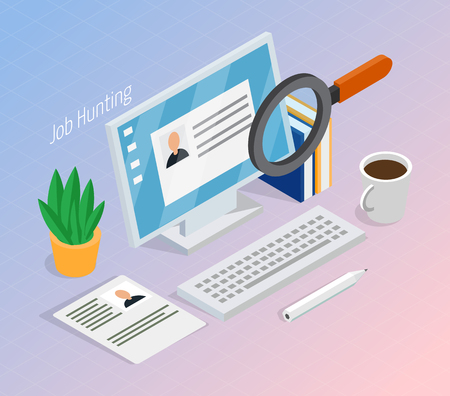 Illustration pour Employment and recruitment resume search for hiring right job, candidate isometric composition with magnifying glass. - image libre de droit