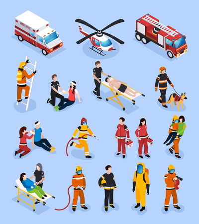 Illustration pour Rescue teams isometric set with people in professional uniform engaged in medical healthcare and fire control vector illustration - image libre de droit