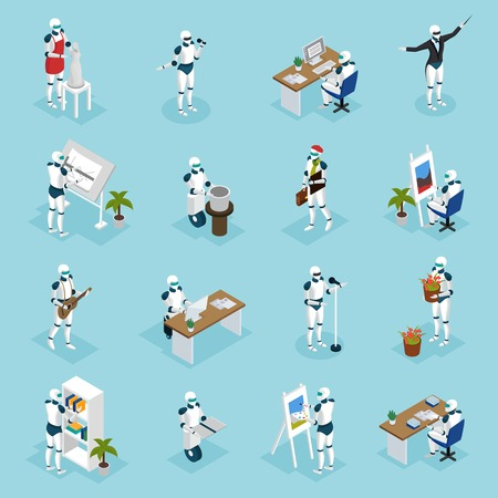 Illustration pour Artificial intelligence isometric icons collection with creative robots playing guitar, singing, painting, designing, writing isometric vector illustration. - image libre de droit