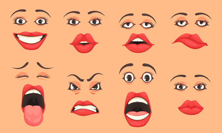 Illustration pour Women cute mouth lips eyes facial expressions gestures emotions of surprise happiness sadness cartoon set vector illustration  - image libre de droit