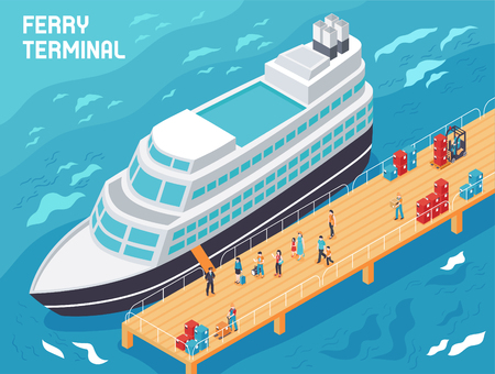 Illustration pour Ferry terminal with modern vessel, tourists and loaders with cargo on pier, isometric vector illustration - image libre de droit