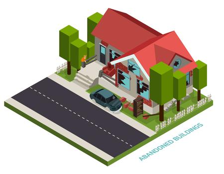 Ilustración de Abandoned building isometric design concept illustration. - Imagen libre de derechos
