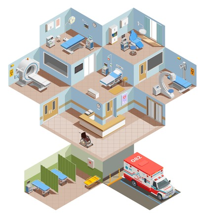 Illustration pour Medical equipment isometric composition with elevation view of hospital center with room interiors and health facilities vector illustration - image libre de droit