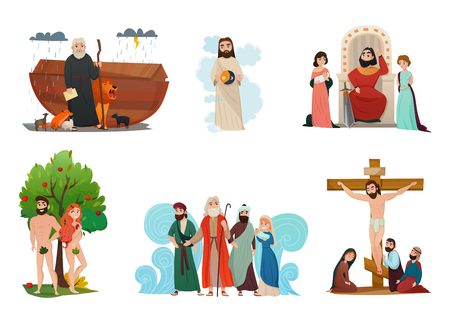 Illustration for Bible narratives stylized compositions set with noah ark forbidden fruit moses story and crucifixion isolated vector illustration  - Royalty Free Image