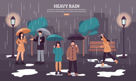 Illustrazione per Weather forecast web page with heavy rain on dark cloudy day with people under umbrellas vector illustration  - Immagini Royalty Free