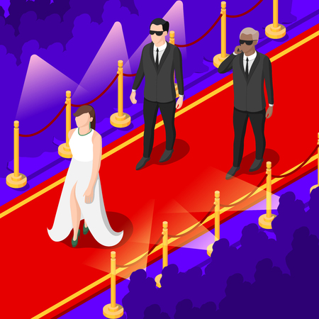 Illustration pour Young talents isometric background with performers on red carpet in festive apparel, spotlights, spectators vector illustration - image libre de droit