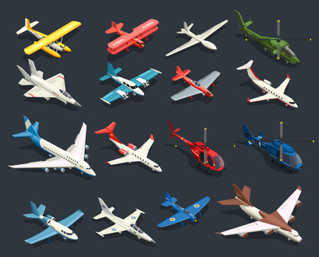 Illustration pour Set of isometric icons airplanes and helicopters of various shape on black background isolated vector illustration - image libre de droit