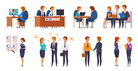 Illustration pour Recruitment hiring hunting HR cartoon characters set of human resources representatives and applicants with flat pictograms vector illustration - image libre de droit