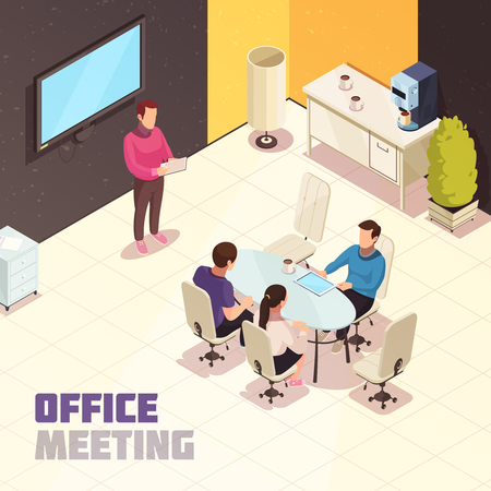 Illustration for Office meeting isometric composition poster with presentation at wall mounted computer monitor and project discussion vector illustration - Royalty Free Image
