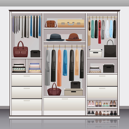 Illustration pour Wardrobe accessories storage with drawers organizers shoe racks hanging rails for scarves neck ties realistic vector illustration  - image libre de droit