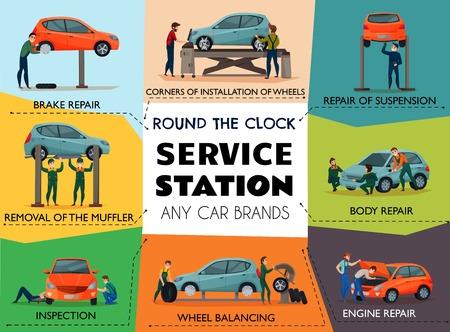 Ilustración de Car service poster with service station symbols flat isolated vector illustration - Imagen libre de derechos