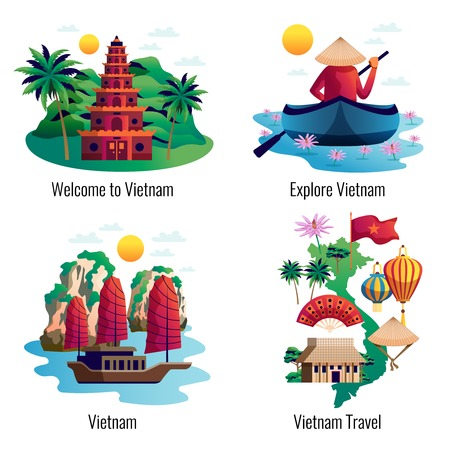 Ilustración de Vietnam 2x2 design concept with traditional clothes accessories cultural and architectural national landmarks cartoon vector illustration - Imagen libre de derechos