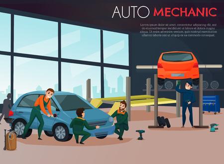 Ilustración de Car service with auto mechanic and maintenance symbols flat vector illustration - Imagen libre de derechos