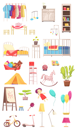 Illustration pour Children room interior elements set, rack with clothing, furniture, toys, plants, bike and scooter isolated vector illustration   - image libre de droit