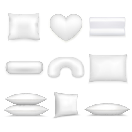 Illustration pour White isolated pillows realistic icon set different shapes and sizes on white background vector illustration. - image libre de droit