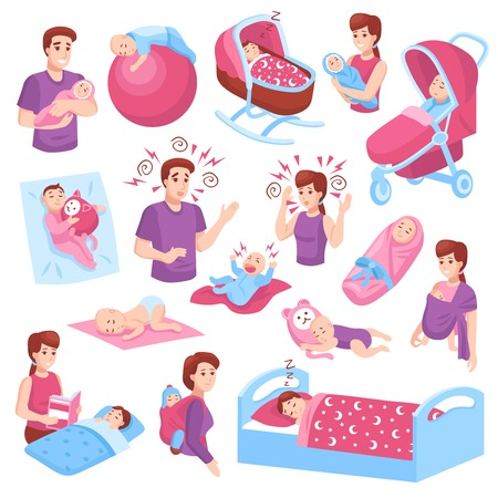 Ilustración de Sleeping babies toddlers kids children in crib stroller parents arms pink blue icons collection isolated vector illustration  - Imagen libre de derechos