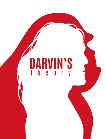 Photo pour Darwin theory red white poster with profile silhouettes of primate and modern man vector illustration - image libre de droit