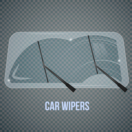 Ilustración de Car windscreen wipe glass realistic composition with isolated wind shield and flat wiper images on transparent background vector illustration - Imagen libre de derechos