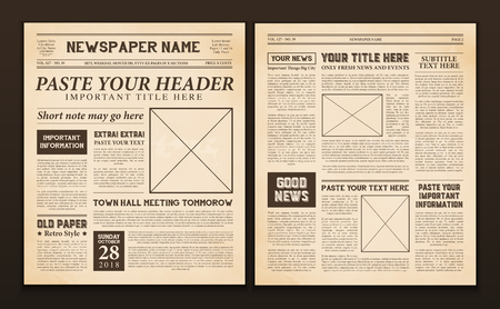 Illustration for Old vintage newspaper 2 realistic pages templates for you title header edition name text isolated vector illustration  - Royalty Free Image