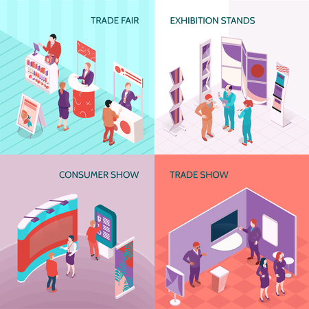 Ilustración de Exhibition stands used at trade fair and consumer show 2x2 design concept isometric vector illustration - Imagen libre de derechos