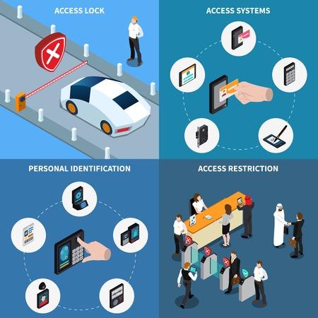 Ilustración de Access lock, personal identification, protection systems and admission restriction, isometric design concept, isolated vector illustration - Imagen libre de derechos